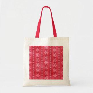 Snowflake Stripes - Red Budget Tote Bag