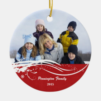 Snowflake swirl Christmas holiday photo ornament