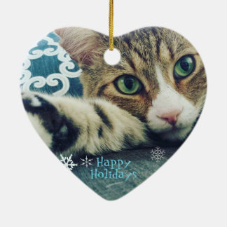 Snowflake Tabby Cat Ornament