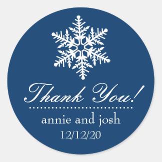 Snowflake Thank You Labels (Dark Blue) Round Sticker