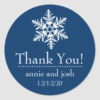 Snowflake Thank You Labels (Dark Blue) Round Sticker