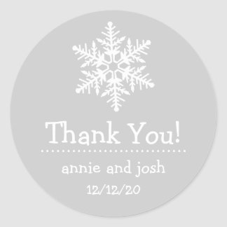 Snowflake Thank You Labels (Silver Gray / White)