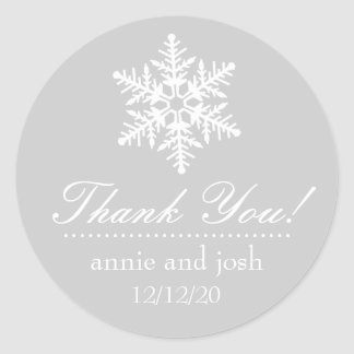 Snowflake Thank You Labels (Silver Gray / White) Round Sticker