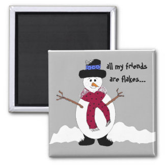 Snowflake the Snowman Square Magnet