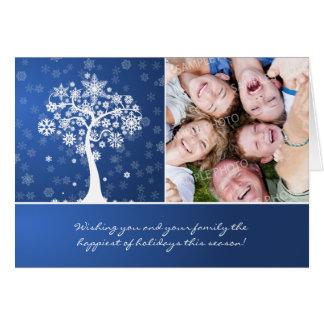 Snowflake Tree custom Family Holiday Card blue