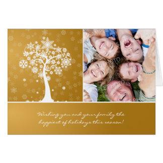Snowflake Tree custom Family Holiday Card gold