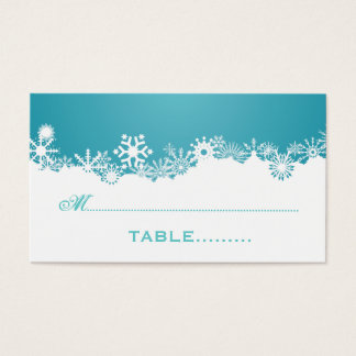 Snowflake turquoise winter wedding place card