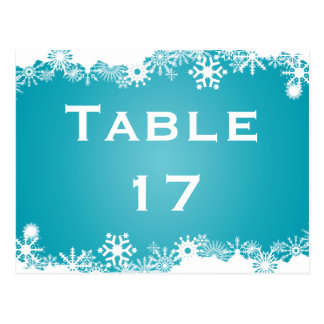 Snowflake turquoise winter wedding table number postcards