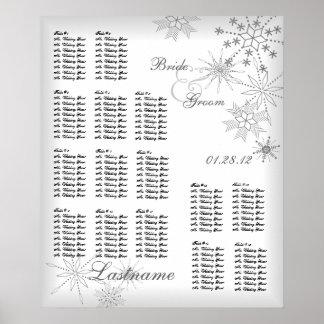 Snowflake Wedding Seating Chart Silver Grey