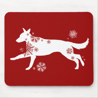 Snowflake White German Shepherd Dog Mouse Pad