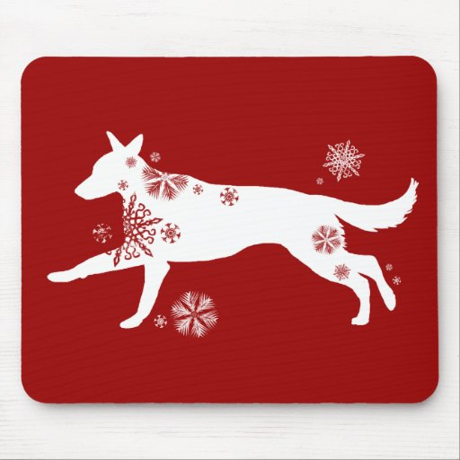 Snowflake White German Shepherd Dog Mouse Pad