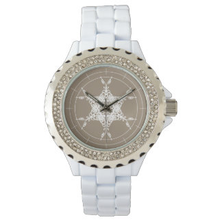 SNOWFLAKE   white vintage floral snowflake Wrist Watches