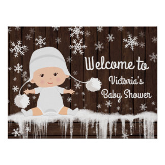 Snowflake Winter Baby Shower Sign Poster