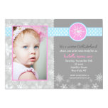 "Snowflake Winter Birthday Party Invitations Photo 5"" X 7"" Invitation Card"