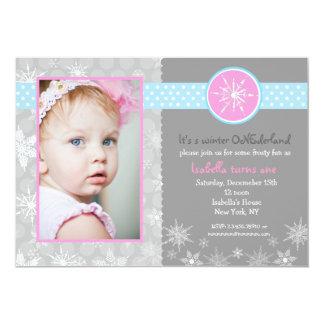 "Snowflake Winter Birthday Party Invitations Photo 5"" X 7"" Invitation Card"