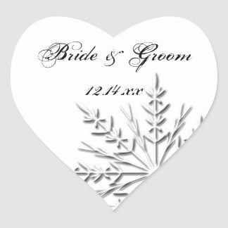 Snowflake Winter Wedding Heart Sticker