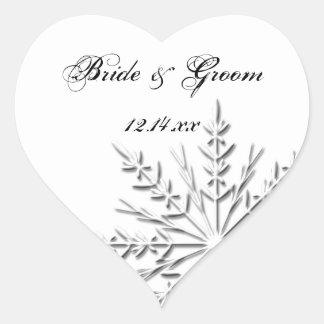 Snowflake Winter Wedding Heart Sticker