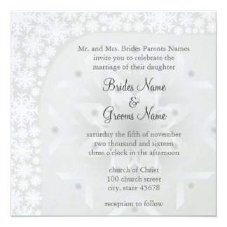 Snowflake Winter Wedding Invitation - Ice Gray