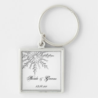 Snowflake Winter Wedding Key Ring