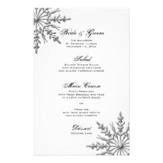 Snowflake Winter Wedding Menu Customised Stationery