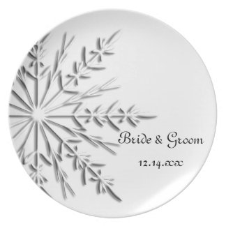 Snowflake Winter Wedding Party Plate