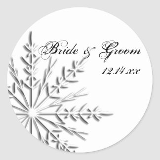 Snowflake Winter Wedding Round Sticker