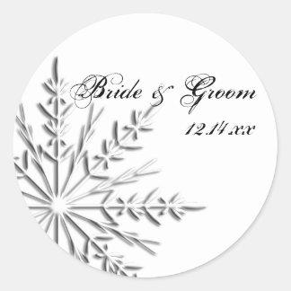 Snowflake Winter Wedding Round Sticker