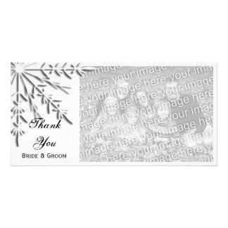 Snowflake Winter Wedding Thank You Photo Card