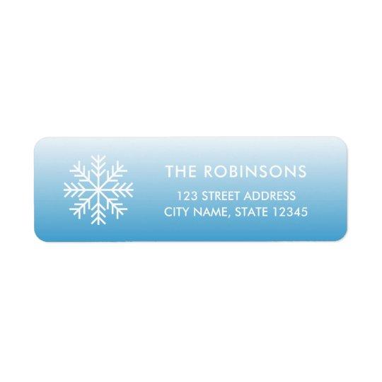 Snowflake Wintry Blue Gradient Return Address