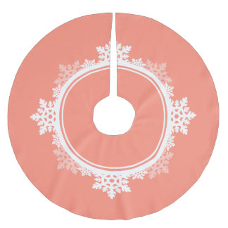Snowflake Wreath in Coral Pink & White Brushed Polyester Tree Skirt