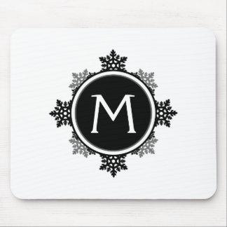 Snowflake Wreath Monogram in Black and White Mousepad