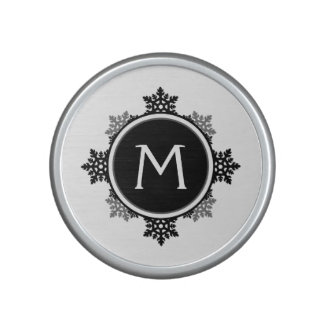 Snowflake Wreath Monogram in Black and White Speaker