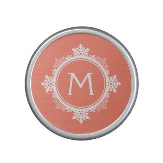 Snowflake Wreath Monogram in Coral Pink White Speaker