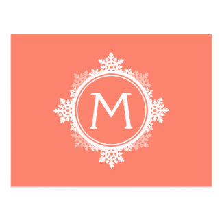 Snowflake Wreath Monogram in Coral Pink & White Post Cards