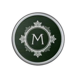 Snowflake Wreath Monogram in Dark Green & White Bluetooth Speaker