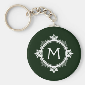 Snowflake Wreath Monogram in Dark Green & White Key Ring
