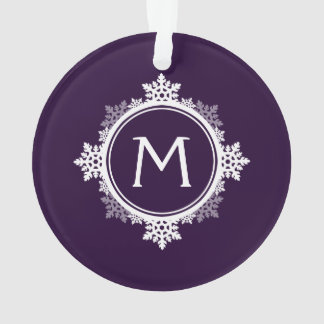 Snowflake Wreath Monogram in Dark Purple & White Ornament