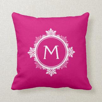 Snowflake Wreath Monogram in Fuchsia Pink & White Cushion