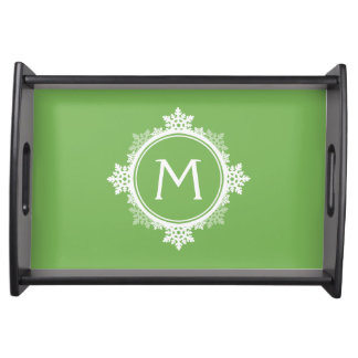 Snowflake Wreath Monogram in Lime Green & White Serving Tray