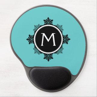 Snowflake Wreath Monogram in Teal, Black, White Gel Mousepad
