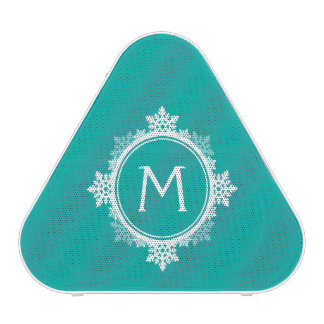 Snowflake Wreath Monogram in Teal Blue & White