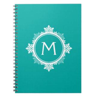 Snowflake Wreath Monogram in Teal Blue & White Notebooks