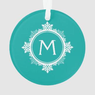 Snowflake Wreath Monogram in Teal Blue & White Ornament