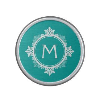 Snowflake Wreath Monogram in Teal Blue & White Speaker