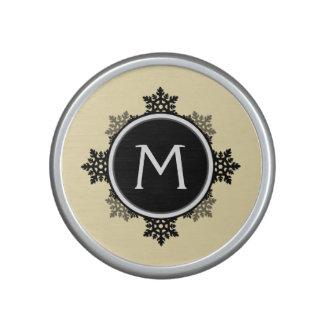 Snowflake Wreath Monogram in Yellow, Black, White Bluetooth Speaker