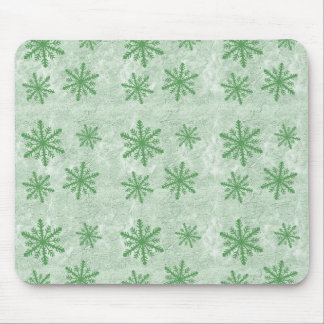 Snowflakes 1 Green - Mouse Pad