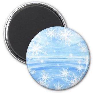 Snowflakes 6 Cm Round Magnet