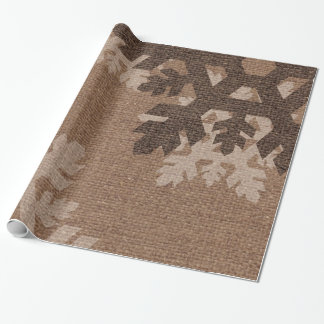 Snowflakes against Rustic Burlap - Holiday Chic Wrapping Paper