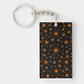 Snowflakes - Amber on Black Acrylic Key Chains