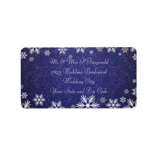 Snowflakes and Blue Damask Wedding Address Label